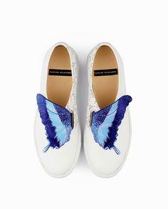 Sneaker donna  bianco con inserto motivo farfalla blu