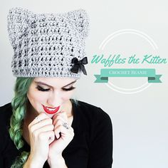 Crochet Beanie Crochet Cat Hat Pattern Cat Beanie Crochet by TheHighbrowHookers - Chat Crochet, Crochet Diy, Crochet Motifs, Basic Crochet Stitches, Crochet Basics, Crochet Crafts, Crochet Hooks, Crochet Patterns, Crochet Shawl