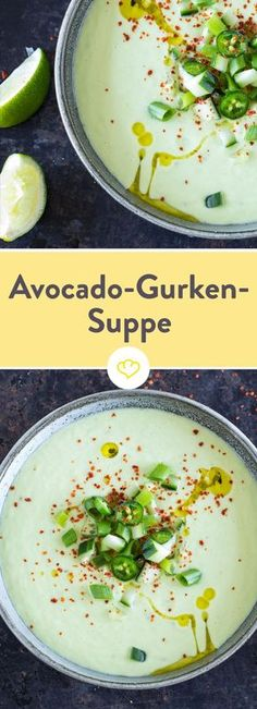 Gurken-Avocado-Suppe mit Joghurt - in 10 Minuten fertig! - Suppen - Would you like a soup – a hot summer soup? With lots of punch, but not difficult at all? Then you are in the right place with this avocado and cucumber soup with yoghurt and jalapeños! Paleo Soup, Paleo Vegan, Soup Recipes, Vegetarian Recipes, Healthy Recipes, Pizza Recipes, Free Recipes, Yogurt, Eat Clean Recipes