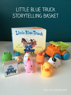 Little Blue Truck Storytelling Basket - Tales of a Teacher Mom Toddler Books, Toddler Fun, Toddler Learning, Early Learning, Toddler Activities, Kid Books, Speech Activities, Story Books, Sensory Activities