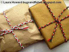 Bugs and Fishes by Lupin: Gift Wrap Idea: Yarn Plaits