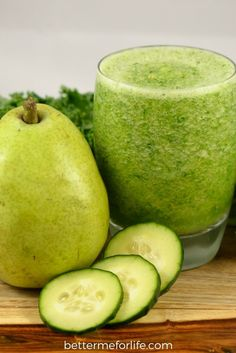 Cucumber Pear Green Smoothie by Better Me for Life. The refreshing flavors of pear and cucumber blend nicely with kale, making this cucumber pear green smoothie a cool treat! Find the recipe on BetterMeforLife.com Find the recipe on BetterMeforLife.com