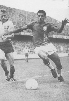 29th June 1958. Brazilian winger Garincha in his pomp in the World Cup Final, against Sweden.