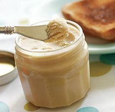 Maple butter OR if you dont have a candy thermometer . . . 1/2 cup softened butter 1/4 cup pure maple syrup  Directions: 1) Combine butter and maple syrup in the bowl of an electric stand mixer. Beat with paddle attachment until light and fluffy. 2) Spoon into jars, cover, and refrigerate. Yield: 3/4 cup.