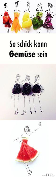 Tüll, Samt und Seide? Die amerikanische Illustration Gretchen Röehrs kreiert aus Salatzutaten und Früchten knackige Modeentwürfe. :D