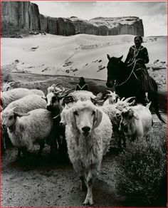 Navajo Sheepherder on horse in Monument Valley, 1969