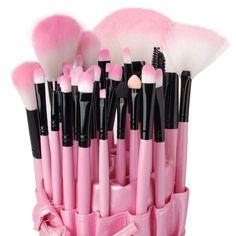 Makeup Brushes set Professional Pink Powder/Foundation/Concealer/Blush brush Shadow/Eyeliner/Lip Brush Makeup Kit with Holder Bag Make Up Kits, Pink Makeup, Beauty Makeup, Eye Makeup, Makeup Brush Holders, Makeup Brush Set, It Cosmetics Brushes, Makeup Cosmetics, Concealer