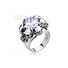 Rose skull ring for women 316L Stainless Steel finger rings gothic... ❤ liked on…