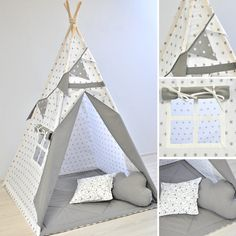 Teepee tents, mats, pillows, bedding for kids by MayabelKids Boys Teepee, Play Teepee, Teepee Tent, Innovative Systems, Stoff Design, Baby Bedroom, Kid Beds, Perfect Place, Fabric Design