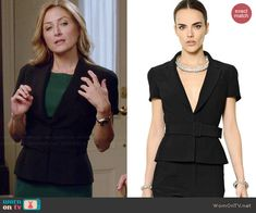 Maura's short sleeve belted blazer on Rizzoli and Isles.  Outfit Details: http://wornontv.net/46389/ #RizzoliandIsles