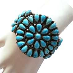 Vintage Sterling NA Turquoise Cluster Bracelet from The More the Merrier on Ruby Lane