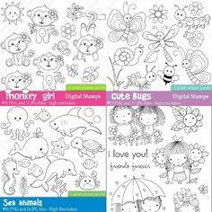 귀여운색칠공부 도안/ 동물 삐에로 아이 나비그림 프린트해서 색칠공부용으로 쓰거나 아이가 그림 그려달라... Monkey Girl, Digital Stamps, Bugs, Love You, Sketches, Girly, Animals, Clay, Drawings