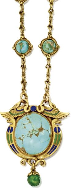 Egyptian-Revival Gold, Turquoise and Enamel Pendant-Necklace, Marcus & Co., Circa 1900. The pendant depicting winged birds representing the Egyptian god Nekhbet, supported by serpents flanking symbols of the sun disc, applied with blue and green enamel accents, set in centre with a cabochon, supporting a green enamel sphere-shaped pendant, suspended from a gold chain set with turquoise cabochons, signed M & Co.