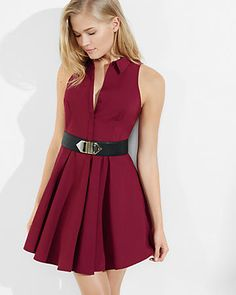 berry sleeveless fit and flare shirt dress