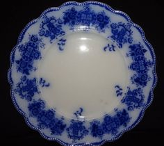 "ANTIQUE VRare GRINDLEY FLOW BLUE dinner size CLARENCE 9 3/4"" PLATE back 1 chip"