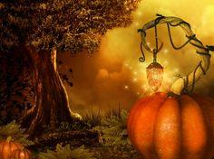 Magical Halloween - grass, halloween, tree, pumpkins, lantern, stars, fog, house, leaves