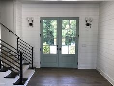home interior design living room Double French Doors, French Doors Patio, Craftsman Patio Doors, Craftsman Bathroom, Craftsman Style, Modern Farmhouse Interiors, Foyer Decorating, Decorating Ideas, Interior Barn Doors