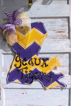 Lsu door hanger - gotta figure out how to get blank wood cut outs!
