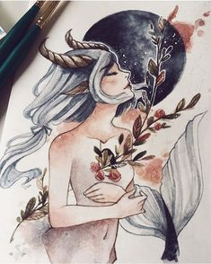 Zodiac Art - Capricorn (by peithedragon) on We Heart It Art Inspo, Kunst Inspo, Inspiration Art, Art Anime, Anime Kunst, Art And Illustration, Fantasy Kunst, Fantasy Art, Art Zodiaque
