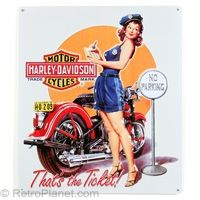 Harley-Davidson Ticket Babe Tin Sign