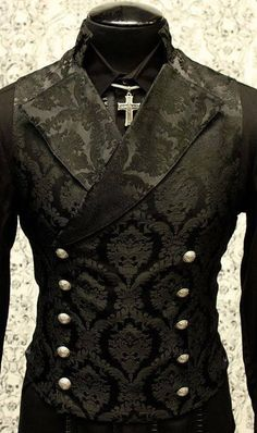Shrine gothic vampire cavalier black vest jacket victorian tapestry steampunk SHRINE-GOTHIC-V. Punk Outfits, Gothic Outfits, Cool Outfits, Fashion Outfits, Fashion Tips, Fashion Clothes, Style Fashion, Fashion Ideas, Gothic Dress