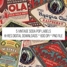 Listing is for a hi-res download of 5 vintage soda pop labels, all from the 1920s-30s. Images are 600 DPI and saved as a PNG file with translucent background. Great for scrapbooking, props building or home decor. All were scanned from original, unused labels so they are in excellent condition. Feel free to sell items that you make with these labels but please do not sell them as downloadable files.