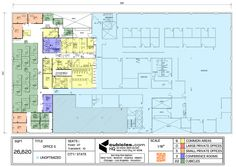 Floor plan of the office with L shaped cubicles. #officelayout