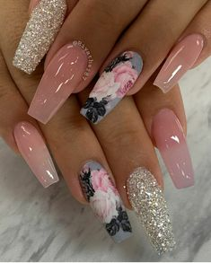 Frensh Nails, Bling Acrylic Nails, Rose Nails, Best Acrylic Nails, Swag Nails, Fun Nails, Hair And Nails, Manicure, Grunge Nails