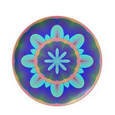Aqua Purple Coral Green Flower Plate