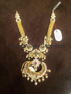 115 Gms Gold Swirls Necklace - Jewellery Designs