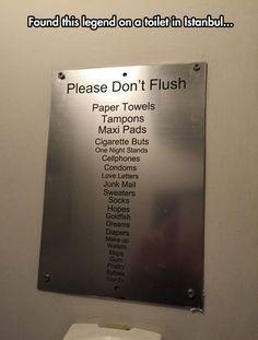 Please Don't Flush babies, your ex, hopes...lmao