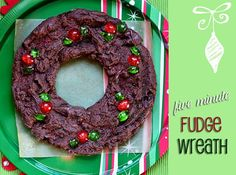 Fabulous Five Minute Fudge Wreath - great #Christmas gift or party idea! recipe at TidyMom.net