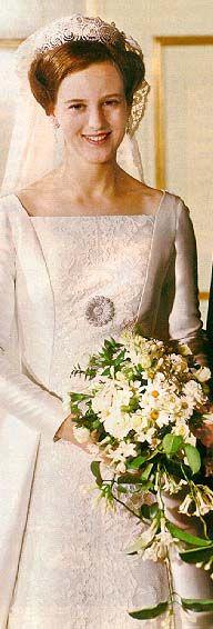 Princesa Margarita de Dinamarca vestida de novia. Crown Princess Margarethe of Denmark