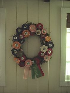 horse show ribbon wreath...minus the grapevine