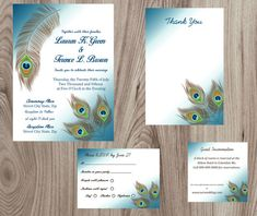 Peacock Wedding Invitation & Stationary Set by RoyalPaperCo