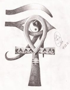 Egyptian Ankh and Eye of Horus Yin-Yang by - funny because it& actually an Eye of Ra Ankh Tattoo, Eye Of Ra Tattoo, Horus Tattoo, Egyptian Eye, Egyptian Symbols, Drug Tattoos, Body Art Tattoos, Tatoos, Yen Yang