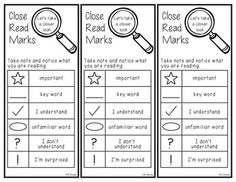 I use this with my first graders.  Some were straining their necks to read the anchor chart with the close reading marks.  This will enable them to have the resource close by.  They include the marks I use in my classroom.  Check out my Close Read packs:American Symbols and MonumentsRainforest AnimalsCheck out my blog for more info:Fantastic First Grade Froggies