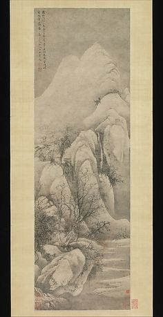 Wang Hui (Chinese, 1632–1717). Snow Clearing: Landscape after Li Cheng, dated 1669. The Metropolitan Museum of Art, New York. Ex coll.: C. C. Wang Family, Gift of Mr. and Mrs. Earl Morse, in honor of Professor Wen Fong, 1978 (1978.13) |  In this work, Wang adopts the brush manner of Li Cheng (919–967), a progenitor of the landscape painting tradition who was particularly loved for his snow scenes featuring gnarled, weathered trees. #snow