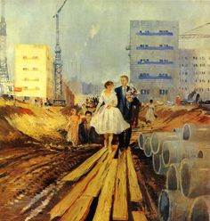 Boda en una calle de mañana. Yuri Pimenov.