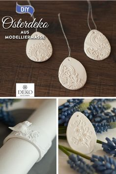 DIY: make pretty Easter decorations out of modeling clay Idee Diy, White Clay, Air Dry Clay, Diy Crafts To Sell, Pin Collection, Valentine Day Gifts, Easter Eggs, Craft Projects, Paper Crafts