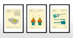 Retro Patent Toy Figure Framed Wall Art Print, Multi (More Sizes Available) Framed Wall Art, Wall Art Prints, Framed Prints, Tama, Modern Frames, Retro Toys, Legos, Your Design, Illustration