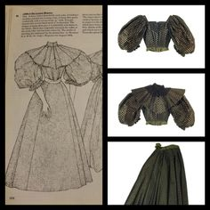 1894-5 A dress with a detachable neck yoke, revealing a neckline suitable for evening wear, in deep olive green corded silk with a woven stripe. Patterned with woven black spors. Black lace originally trimmed the collar of the beck yoke, but has been removed. The London Museum. Patterns of Fashion 2 page 44