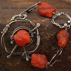 Bracelet made of wrought silver (pr. 925, 930, 999) and natural stones: raw carnelian. Bracelet is 19.5 cm