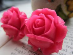 Gauges  Plugs  One Inch Pink Roses by RefinedRubbishLLC on Etsy, $26.00