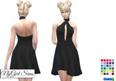 NyGirl Sims 4: Open Back Flare Dress