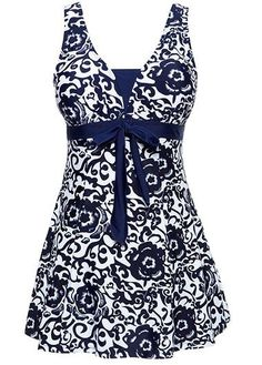 Open Back Bowknot Embellished Printed Navy Blue Swimdress