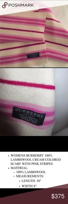30% OFF BUNDLES🔹Auth Burberry Pink Striped Scarf New without tags, 100% Lambswool🔹I'm offering 30% off 2 items or more. There's a $15 section at the bottom of my closet to help the discount kick in👍🏼 Burberry Accessories Scarves & Wraps