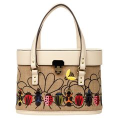 af3a08f15d3e Embroidery Basket Connie Bag in Natural  Embroidery Basket Connie bag with  multi coloured bug embroidery. With enamel turn lock. Leather top handles.