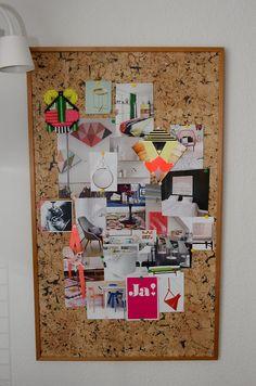 Moodboard, storyboard, tableau inspiration, tableau en liège, fluo