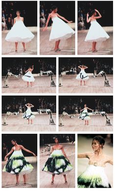 Shalom Harlow at Alexander McQueen S/S 1999 - No. 13  inspired by the Arts and Crafts Movement, the model Shalom Harlow rotating on a turntable wearing a white dress being spray painted by two industrial robots. Harlow trained as a ballerina; It's often said that the inspiration behind the collection was the dying swan. In actual fact, the inspiration came from an installation of the artist Rebecca Horn, of two machine guns firing paint at each other.  http://styleite.tumblr.com